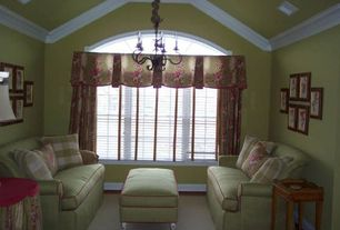 Traditional Living Room with Arched window, Carpet, Crown molding, paint2, Kincaid Malibu Sleeper, Paint1, Chandelier