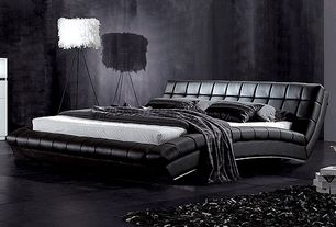 Contemporary Master Bedroom with Concrete tile , GREATIME B1041 Eastern King Black Wave-like Shape Upholstered Bed