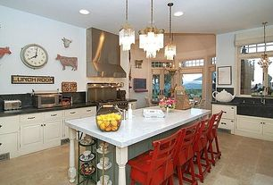 Eclectic Kitchen with Slant Front Soapstone Apron Sink, Ms International  Carrara White Marble