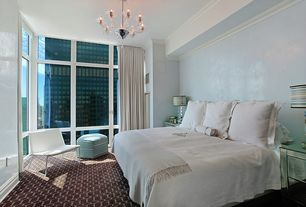 Contemporary Master Bedroom with Worlds Away Alicia Mirrored Chest, Niche Cruise Coverlet, Threshold Ottoman Cube