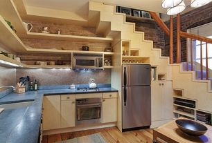 Contemporary Kitchen with High ceiling, Undermount sink, Built-in bookshelf, Inset cabinets, European Cabinets, U-shaped