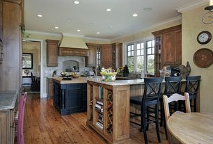 Country Kitchen with Wood counters, Built-in bookshelf, Glass panel, Simple granite counters, Kitchen island, Custom hood