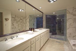 Modern Master Bathroom with Simple Marble, Double sink, Simple marble counters, Concrete tile , frameless showerdoor