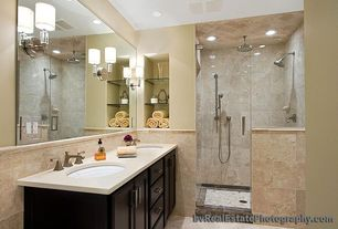 Modern Full Bathroom with Undermount sink, Wall Tiles, Standard height, Wall sconce, Shower, can lights, Handheld showerhead
