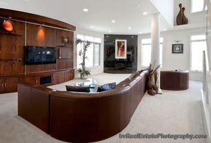 Contemporary Living Room with can lights, Carpet, Standard height, Fireplace, Columns, picture window, Casement
