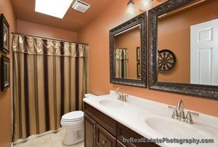 Traditional 3/4 Bathroom with Simple Marble, Skylight, Standard height, six panel door, Undermount sink, Double sink, Flush