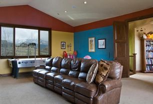 Traditional Playroom with can lights, Carpet, six panel door, Ceiling fan, Casement, High ceiling