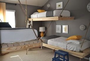 Contemporary Kids Bedroom with Paint 2, Paint, Bunk beds, Standard height, Carpet, West elm perfect throw, specialty window