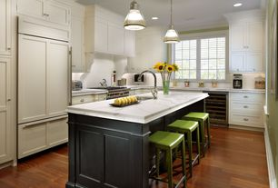 Traditional Kitchen with Flat panel cabinets, Pottery Barn PB Classic Pendant Ribbed Glass, Kitchen island, Crown molding