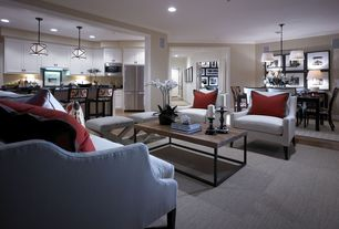 Traditional Living Room with West elm x-base ottoman, steel + ivory, cross weave, Laminate floors