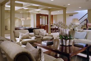 Traditional Living Room with Box beam ceiling, Carpet, Box beam ceiling with crown molding, Crown molding, Columns