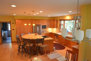 Kitchen with dishwasher, Cluster chandelier, full backsplash, L-shaped, Granite countertop in solaris, Flat panel cabinets