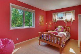 Modern Kids Bedroom with Standard height, specialty window, Casement, Carpet