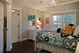 Traditional Kids Bedroom with Hardwood floors, Chandelier, High ceiling