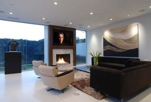 Contemporary Living Room with insert fireplace, Paint, simple marble tile floors, Vesuvio 5520-632 Rug, Miami Chair
