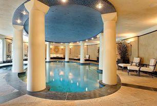 Mediterranean Swimming Pool with Indoor pool, exterior stone floors, Olin Stone Cut to Size Italian Travertine