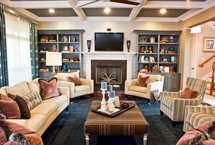 "Eclectic Living Room with Crown molding, Inspire q kayla montgomery striped upholstered 48"" cocktail ottoman, Carpet"