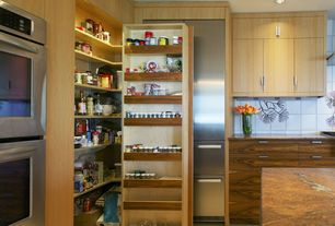 Contemporary Pantry with Standard height, Hardwood floors