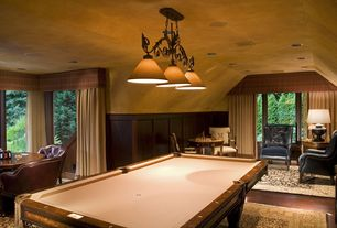 Traditional Game Room with Wainscotting, Pendant light, Hardwood floors, High ceiling