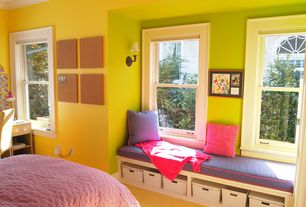 Contemporary Kids Bedroom with Laminate floors, The Container Store White Store Anywhere Boxes, Built-in window seat
