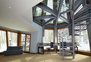 Contemporary Staircase with Spiral staircase, Cathedral ceiling, Togo, Carpet, York office chair