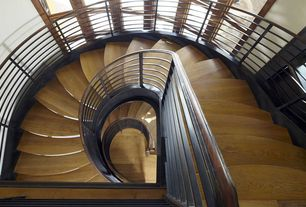 Modern Staircase with Hardwood floors, High ceiling, Spiral staircase