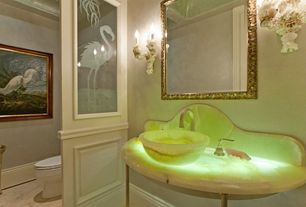 Eclectic Powder Room with Wainscoting, Polaris Sinks P358 Honey Onyx Vessel Sink, Faux finish, Formal, Backlit onyx