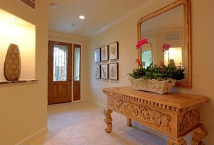 Traditional Entryway with Glass panel door, can lights, terracotta tile floors, Ceiling fan, Standard height