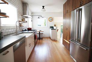 "Contemporary Kitchen with Concrete counters, flush light, Galley, 5th avenue 3"" x 6"" - white matte, Flush, Farmhouse sink"