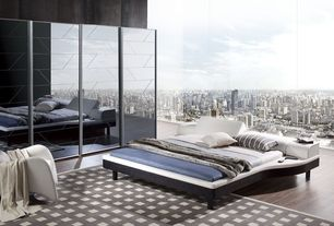 Modern Master Bedroom with Leather platform bed, Cityscape wallpaper, Reclining headboard, Minimalist, Mirrored wall