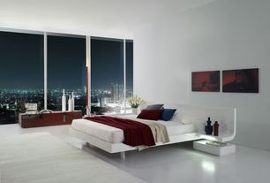 Modern Master Bedroom with skyline, White area rug, Domino Platform Bed - King, Baby Alpaca Boucle Wool Blanket Throw