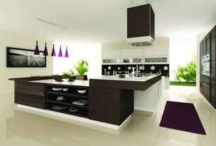 Modern Kitchen with Flush, Soapstone, Glass panel, U-shaped, Chandra Rugs - Sara Shag Dark Purple Area Rug, Kitchen peninsula