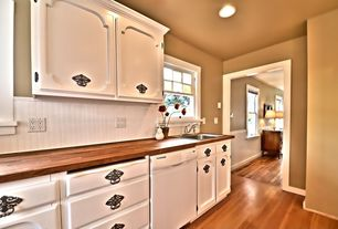Cottage Kitchen with Stainless drop in single basin sink, Large Ceramic Tile, Wainscotting, Wood counters, One-wall