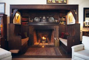 Craftsman Living Room with Ornate original victorian gothic oak scrolled church pew, Hardwood floor, brick fireplace