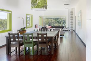 Contemporary Dining Room with Armstrong northern maple - burnt cinnamon 5 in. engineered hardwood wide plank, picture window