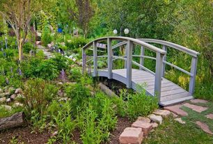 Country Landscape/Yard with Coral Coast Harrison 6-ft. Wood Garden Bridge, Pathway, Wooden garden bridge