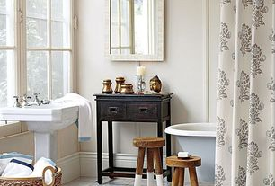 Eclectic Full Bathroom with Kacy pedestal sink - large - white, Paint, Jaipur shower curtain, bark