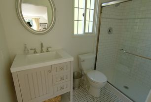 Cottage 3/4 Bathroom with Uttermost Franklin Mirror, Exposed beam, Inset cabinets, specialty tile floors, Flat panel cabinets