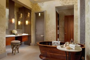 Traditional Full Bathroom with Master bathroom, frameless showerdoor, Double sink, Mural, Wall sconce, Freestanding