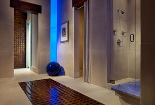 Contemporary Full Bathroom with High ceiling, GBL Lighting Flex-3M-Out-12V Blue 3M LED In/Out Strip, frameless showerdoor