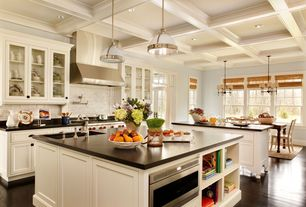 Traditional Kitchen with Inset cabinets, Chocolate hickory soft scraped engineered hardwood flooring, Paint, Box ceiling