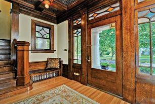 Craftsman Entryway with Vintage maple natural engineered hardwood flooring, Box ceiling, double-hung window