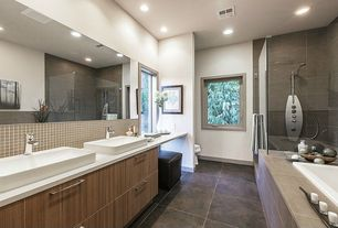 Contemporary Master Bathroom with Double sink, Bellmont 1600 Series Semi-Custom Cabinets, Revurb Thermal Structured Canyon