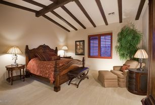 Mediterranean Guest Bedroom with Exposed beam, Carpet, High ceiling