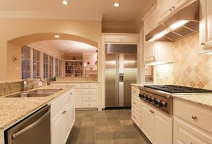 Traditional Kitchen with Raised panel, Stone Tile, Vinyl floors, Arizona Tile Cafe Creme Granite, Galley, Undermount sink