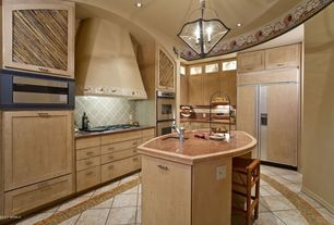 Eclectic Kitchen with Undermount sink, Custom hood, Kitchen island, Pendant light, Copper counters, Flat panel cabinets