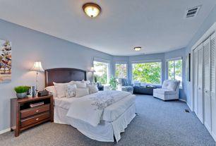 Modern Master Bedroom with Carpet, flush light