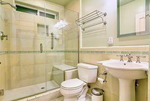 Modern Full Bathroom with Shower, wall-mounted above mirror bathroom light, Pedestal sink, Chair rail, frameless showerdoor