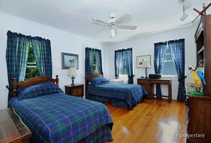 Traditional Guest Bedroom with Ceiling fan, Oak furniture, Hardwood floors, Oak flooring