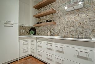 Contemporary Kitchen with Flush, Hardwood floors, Stone Tile, L-shaped, Flat panel cabinets, Simple marble counters